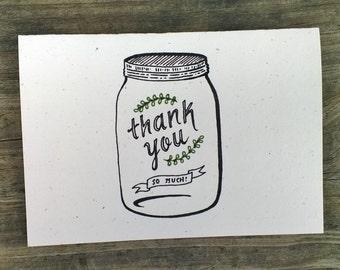 Mason Jar Thank You Card Set, Mason Jar Cards, Mason Jar Thank You Cards, Hand Drawn Thank You Cards