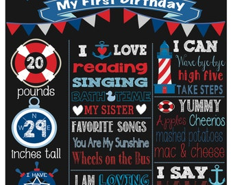Nautical Birthday Boy Chalkboard, Sail Theme- Red, Blue, White Any age available, Digital File