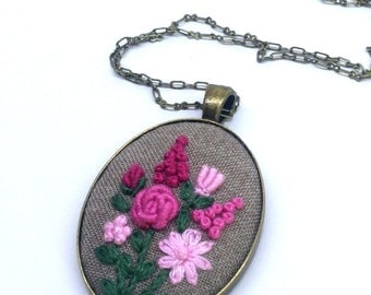 Pink Flower Necklace, Unique Necklace for Woman, Flower Embroidery Jewelry