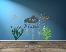 Submarine Decal Ocean Name Decal Deep Sea Diver Decal Underwater Decal Bubble Wall Decal Ocean Decal Sea Life Decal School of Fish Decal