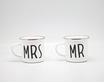 Mrs & Mr enamel mugs