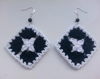 Handmade, crochet earrings, crochet squares, cotton jewlery.