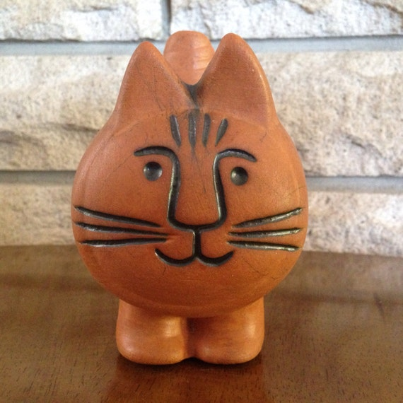 cute vintage terra cotta cat planter