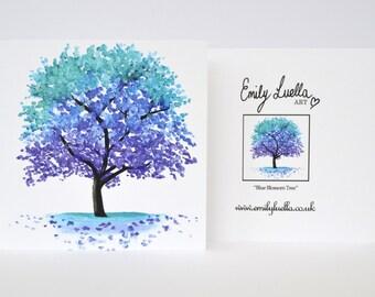 """Fine Art Greeting Card - Blue Tree 5"""" x 5"""""""