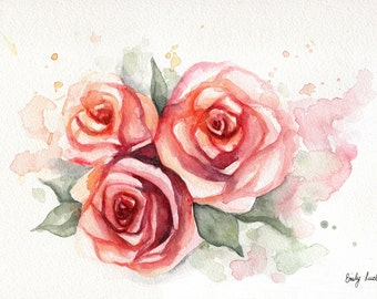 """ORIGINAL Watercolor Pink Roses Painting 9"""" x 12"""" by Emily Luella"""