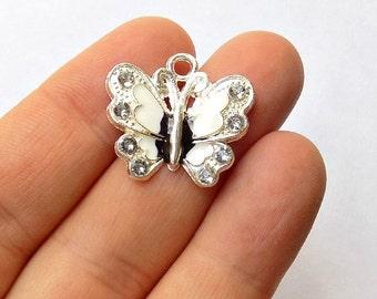 5 White Enamel Butterfly Charms - Crystal Rhinestone Butterflies - Pendants - #E0016