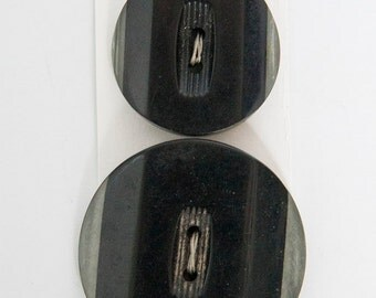 2 Art Deco vintage buttons black and grey faceted plastic