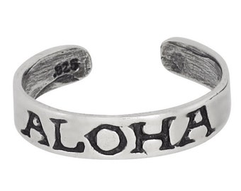 Sterling Silver .925 ALOHA Engraved Toe Ring adjustable size | Made In USA