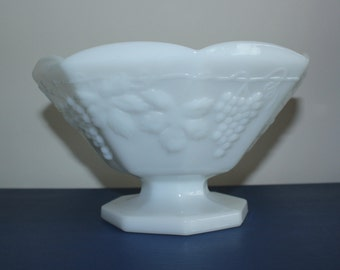 Milk glass fruit bowl, pedestal bowl, vintage glass, white glass, white decor