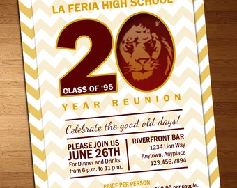 Chevron Class Reunion Invitation - High School Reunion Invitation - Reunion Invitation - 20 Year Reunion - 10 Year Reunion - Class of Invite