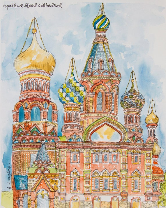 Spilled Blood Cathedral- Watercolor Print