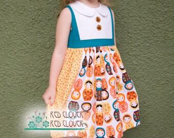 Retro Matryoshka Russian Nesting Dolls baby, toddler, girls dress with Peter Pan collar, sizes 6m, 12m, 18m, 2T, 3T, 4T, 5, 6, 7