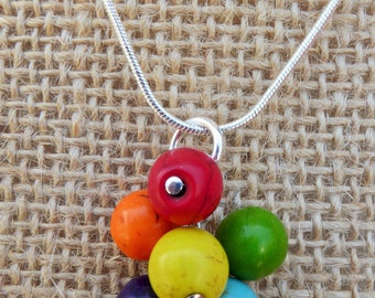 SALE Rainbow Cluster Howlite Necklace