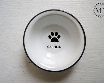 CAT Name BOWL Pet Bowl Dog Bowl ENGRAVED, Cat bowl pottery, Metal Dog Dish, Personal Pet Dish, Custom Dog Bowl, Bowl with Name, Dog Name