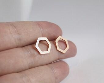 Open Hexagon Copper Earrings,Open Geometric Shape Studs, Handmade Copper with Sterling Silver Posts,Hexagon Earrings, Copper Hexagon Studs