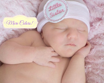 Little sister hat, Hospital Hat with little Sister, Little sister newborn hat, Little sister Pink Newborn Baby Hat with little sister - PINK