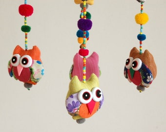 Happy Owls Baby Mobile & Colorful Nursery Decoration