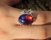 Dragons Breath Fire opal ring,lace bezel,bright silver plated filigree adjustable, Renaissance Jewelry, Victorian Jewelry
