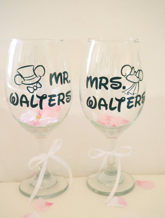 Personalized Wine Glasses For Wedding Gift : Custom Wine Glasses Couples Wedding Gift Disney Personalized Wine ...