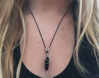 Black Crystal Pendant Necklace Black Agate Crystal Quartz Stone Pendant Necklace