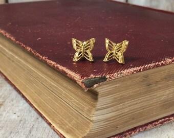 Butterfly Stud Earrings - Butterfly Studs - Tiny Butterfly Earrings - Gold Butterfly Jewelry - Little Gold Studs - Faux Gold Stud Earrings