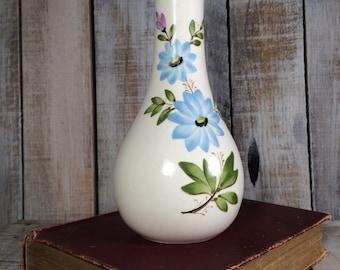 1980 FTD Vase, blue flower vase, flower bloom, blue flowers, garden vase, floral vase, botanical vase, blue forget me not flower print vase