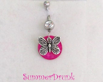 Butterfly belly button ring , Navel ring, Belly button Jewelry, Belly button piercing, Belly button ring