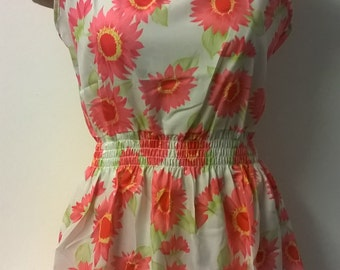Vintage Style Floral Summer Dress, Womens Dress, Sleeveless Dress, Beech Dress, Pink Flower Dress