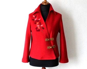 Vintage Red Virgin Wool Blazer Boiled Wool Cardigan Large Size