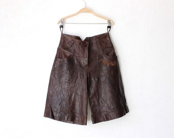 Vintage Brown Genuine Goat Leather Shorts High Waist  Shorts Medium Size