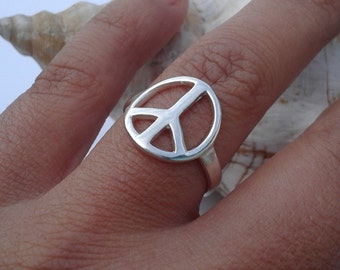 CND Peace Sign Ring , Peace Jewelry , Sterling silver , Girlfriends Gift , Peace Silver Ring