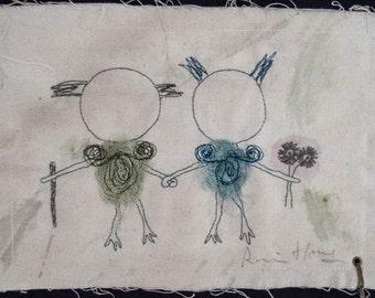 Grimm / Embroidery artwork, kawaii
