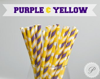 PURPLE & YELLOW // Paper Straws // Stripes - Polka Dots // Graduation Party // Lakers // LSU // Minnesota Vikings