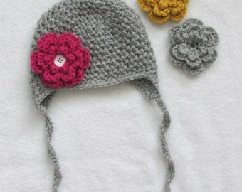 Kids Crochet Hat Grey With Interchangeable Flowers, Baby Toddler Child