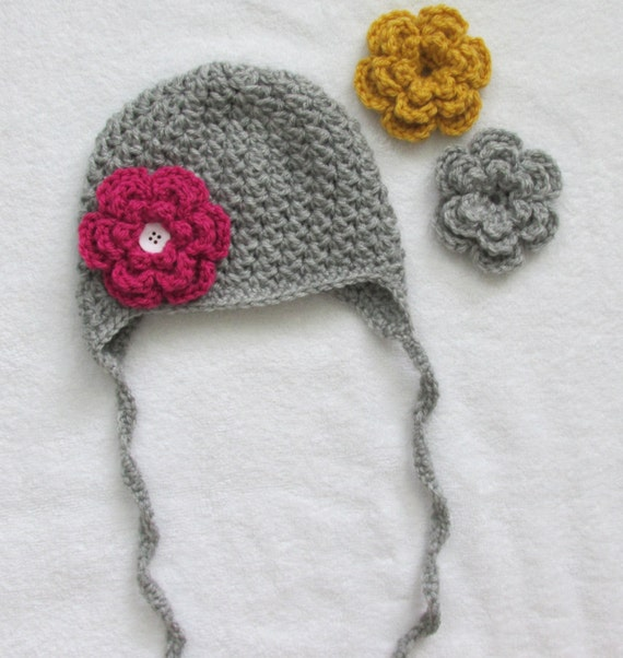 Interchangeable Crochet Flower Pattern : Interchangeable Flower Hat Crochet Girl Baby Toddler Ear Flap