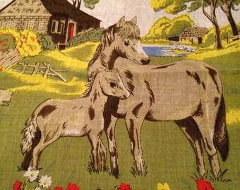 Vintage Horse & Foal Handkerchief