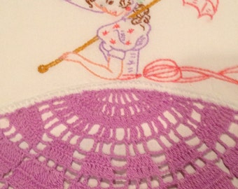 Vintage Southern Belle with Parasol Lavender Crotchet Embroidered Pillowcase