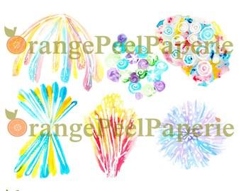 Watercolor Fireworks Celebration Clip Art