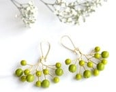 Green Berry Earrings - Golden Wire and Green Glass Beads - Tree And Branches