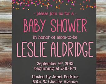 Pink Confetti Baby Shower Invitation - Personalized Custom Girl Baby Shower Invitation - Pink Ombre Confetti Baby Shower Invitation