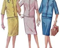 Vintage 1960s woman short jacket & skirt pattern / Simplicity 4859 / size 12 / collar variations / straight skirt / side zipper / UNCUT