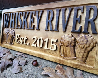 Custom Signs For Home Decor dark stained custom wood sign with names and date hand painted wedding welcome then home Personalized Bar Sign Carved Wood Sign Custom Wood Sign Personalized Wood Sign Groomsmen Gift Cabin Man