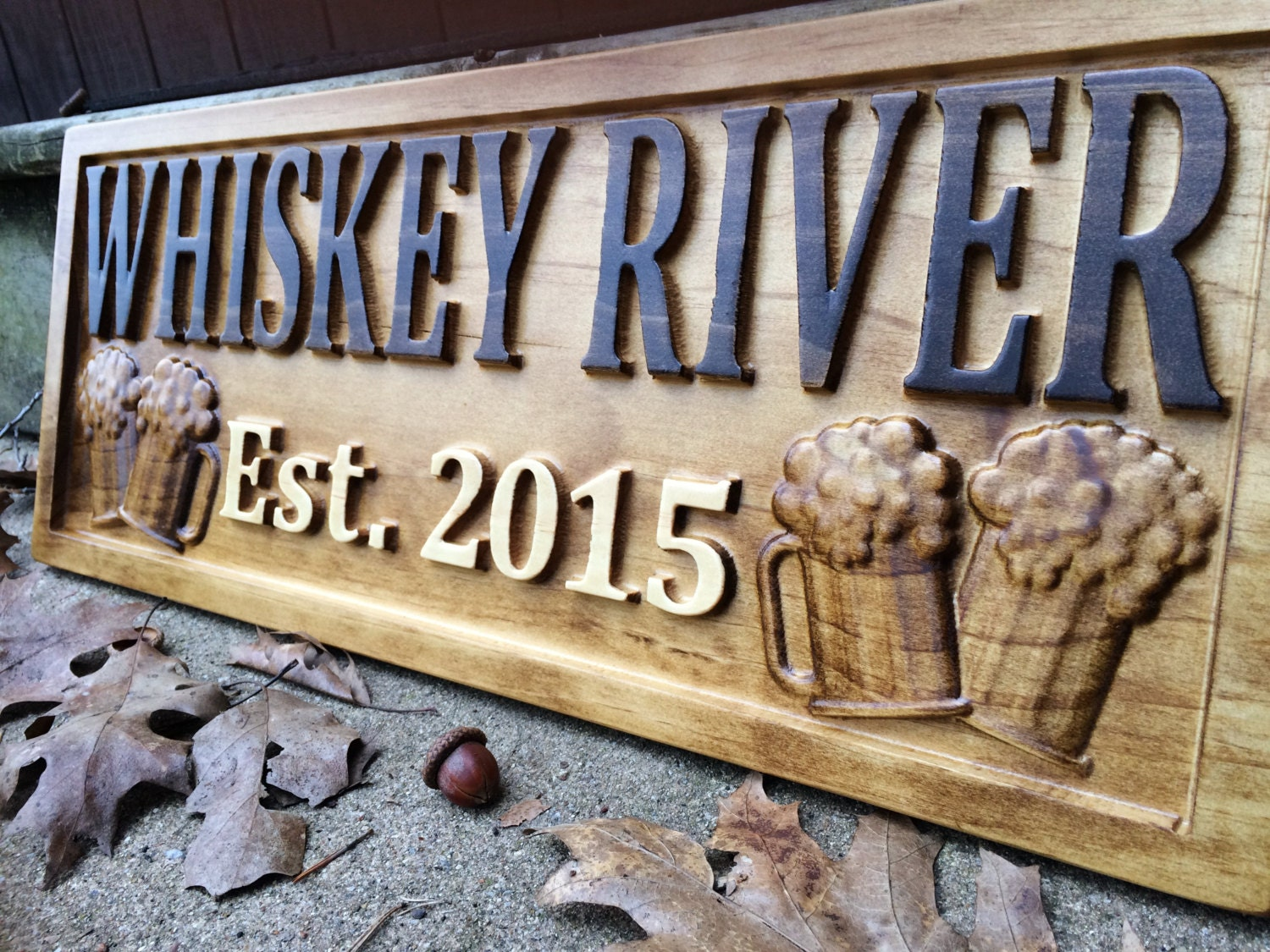 Unique Man Cave Accessories : Personalized bar sign carved wood custom