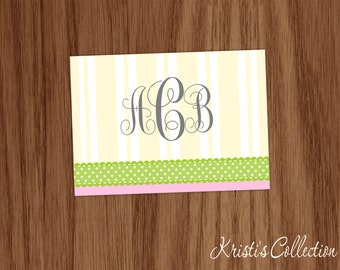Personalized Folded Note Card Set of 10 - Striped Polka Dot