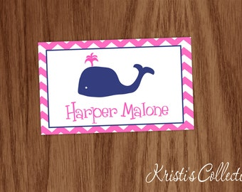 Personalized Preppy Bag Tag, Whale Chevron Luggage Backpack Diaper Dance Bag Tag