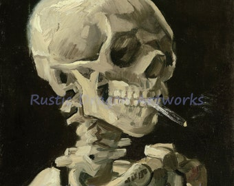 "Vincent Van Gogh ""Skull with Burning Cigarette"" 1886 Reproduction Digital Print"