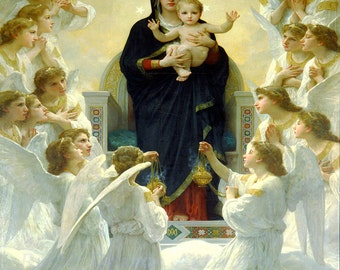 "William Bouquereau ""The Virgin with Angels"" 1900 Reproduction Digital Print Mother Mary Angels"