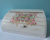 White Shabby Chic Roses Roll Top Wooden Bread Box Decoupaged + FREE GIFT