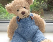 Teddy Bear Clothes,Hand Knitted Wooden Heart Dungarees In Blue, to fit a 11 inch bear, Ready To Ship