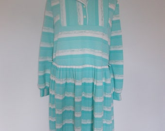 Vintage dress 60s 70s sky blue and white striped dress size extra large plus size